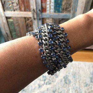 BR Silver and Blue Wide Stone & Chain Bracelet